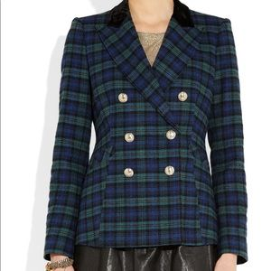 NWOT Juicy Couture Blue Tartan Wool Jacket 0P